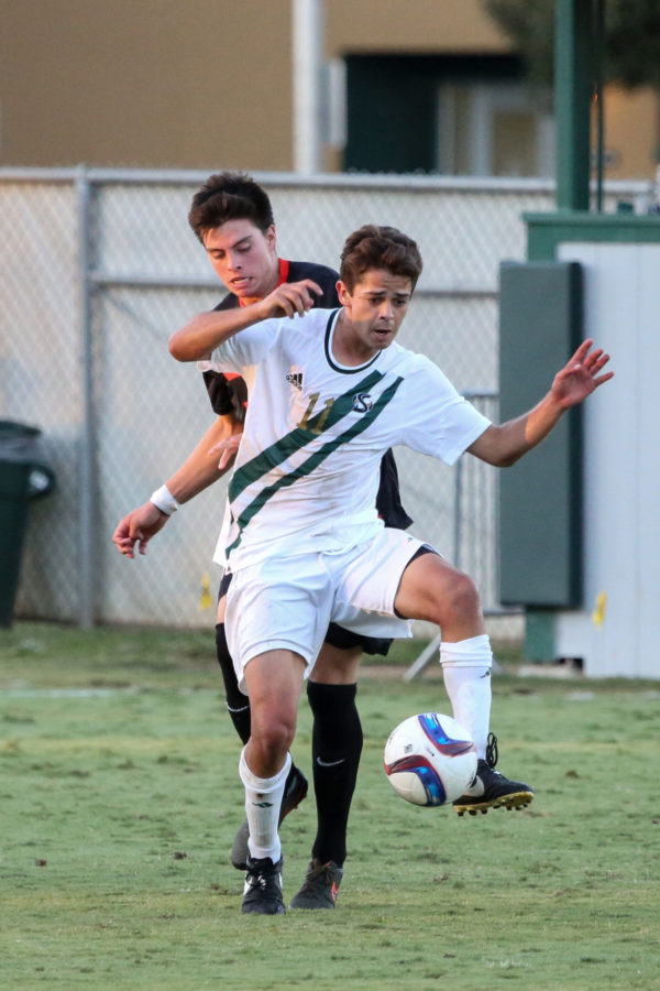 Sacramento State midfielder Bert Corona dribbles a pass on Friday, Sept. 18, 2015 at Hornet Field. Corona had a shot and an assist against the University of the Pacific.