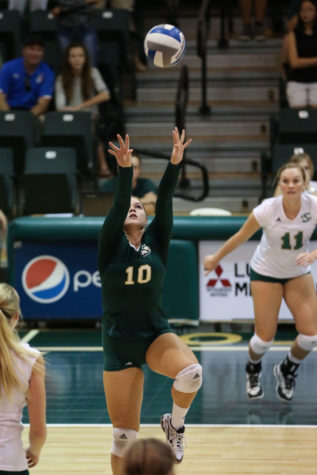 Sacramento State defensive specialist Lexie Skalbeck sets up for an attack against Northern Arizona University on Saturday, Sept. 26, 2015 at the Nest. Skalbeck lead the team in digs with 24 in a 3-1 win over the Lumberjacks.