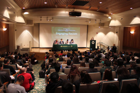 Sacramento State professors speak on a panel about racism to a full crowd in the University Union, Tuesday, Oct. 26, 2015.
