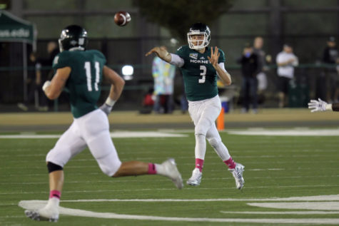 Sacramento State quarterback Kolney Cassel throws a pass to tight end Stone Sander on Saturday, Oct. 3rd, 2015 at Hornet Stadium. Cassel went 22-of-44 for 294 passing yards and two touchdowns.