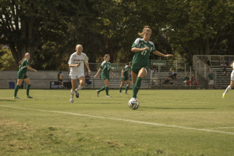 Sacramento State defender Hadyn Gabbert dribbles the ball away from the Southern Utah University offense on Sunday Sep, 27th, 2015 Hornet Field. The Hornets won the game 4-1.