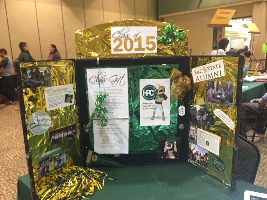A diorama displayed provides graduating seniors with important information like their class gift to the university during
