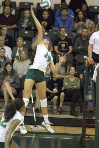 Lauren Kissell attempts the kill against Idaho State on Saturday, Nov. 7, 2015 at the Hornets Nest. Kissell ended the game with 13 kills.