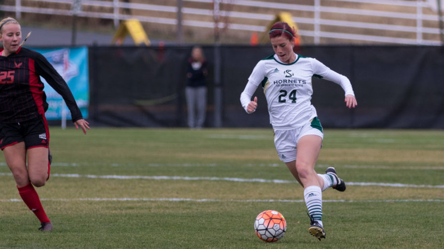 Sacramento State forward Kayla Collins drives the ball past Abby Klinkenberg of Eastern Washington on Thursday, Nov. 5, 2015 in Moscow, Idaho. Collins had two goals in the Hornets' 3-1 Big Sky Conference Tournament quarterfinal victory.