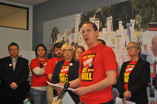 Kevin Wehr, president of the Sacramento chapter of the CFA, reads a statement during a press conference on Monday, Feb. 8 in Sacramento to announce the upcoming strike dates.