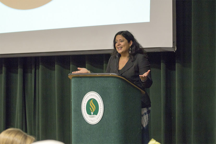 Maya Soetoro-Ng speaks at the conflict workshop at Sacramento State in the Union, Friday, Feb. 26.
