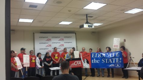 The California Faculty Association leadership speaking at a press conference in the University Union to announce the release of a third party fact finding panel's recommendations about the pay dispute with the California State University Administration, Monday, March 28.