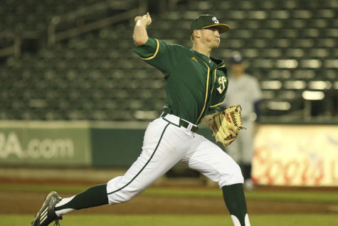 Tanner Olson pitched in relief against Nevada at Raley Field, Wednesday, March 9. Olson picked up the win for the Hornets.
