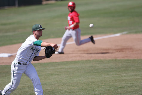 Austin Root makes a play on the ball and throws to first base for the out against New Mexico at John Smith Field, Tuesday, Mar. 29. Root was gave up four hits and two earned runs in a 12-3 loss