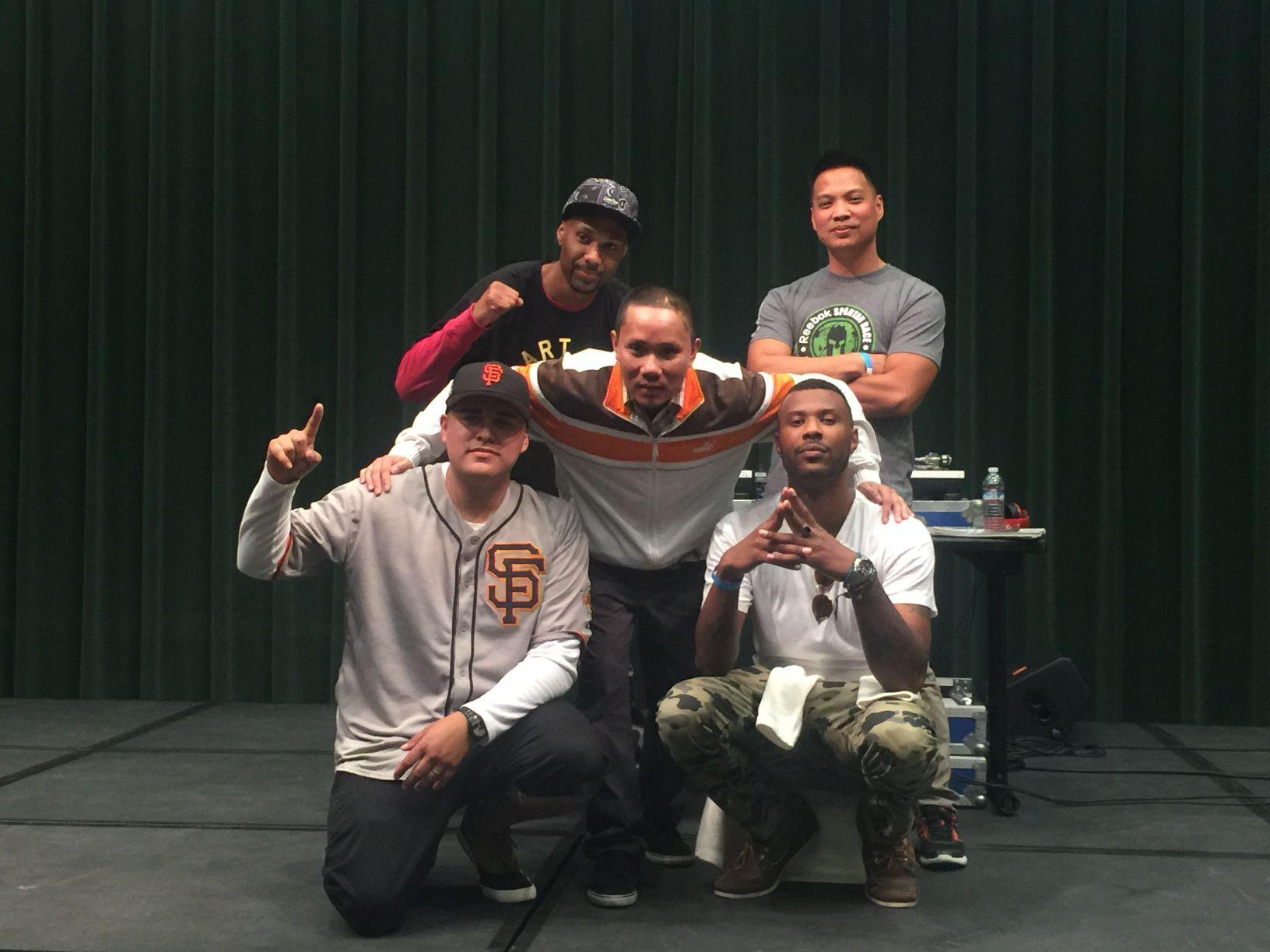 Members of the local hip-hop group Live Manikins after their concert at the Nooner in the University Union Redwood Room on Wednesday, March 30.