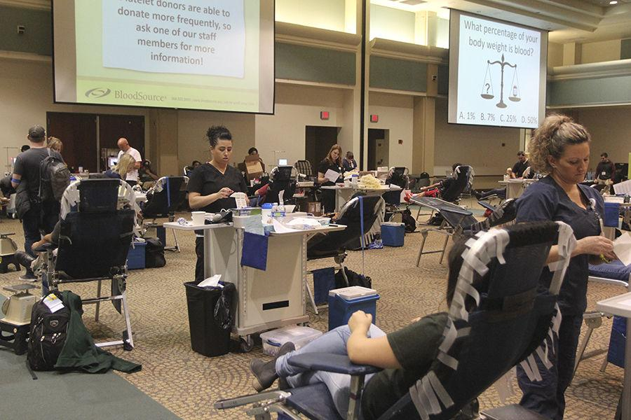 Students giving blood at the Blood Drive in the University Ballroom on Tuesday, Feb. 16, 2016.