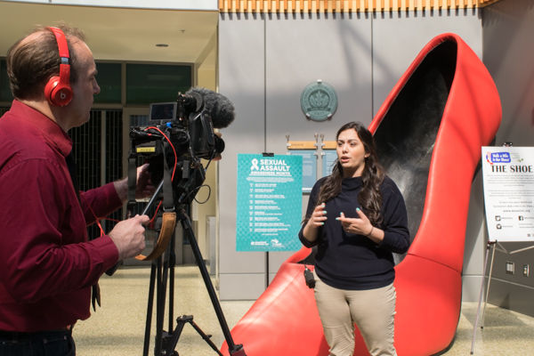 Melissa Bardo, ASI President doing an interview at the well for sexual assault awarness month at the well. Monday Mar 28