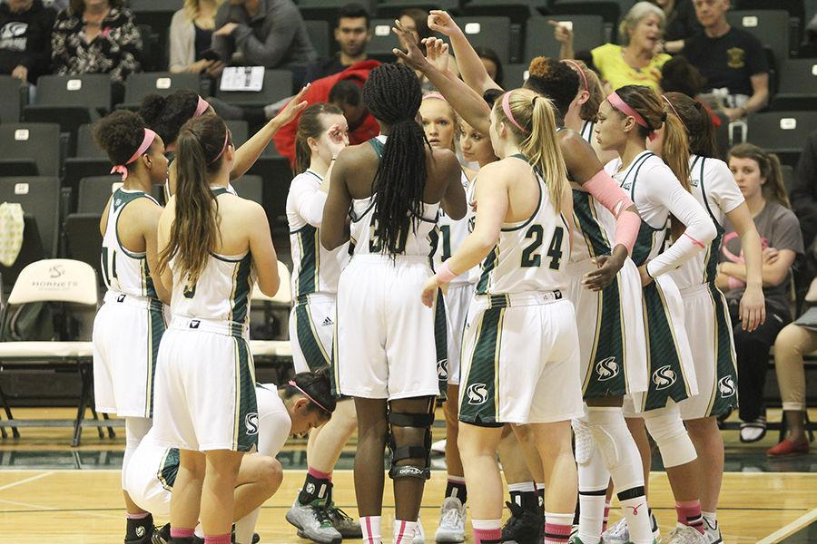 The Sac State women's basketball team huddles up during halftime against Northern Colorado in the Hornets Nest,Thursday, Feb. 25. The Hornets went on to win 83-72.