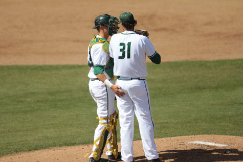 Gunner Pollman and Ryan Smith talk about a game plan against New Mexico at John Smith Field, Tuesday, Mar. 29.