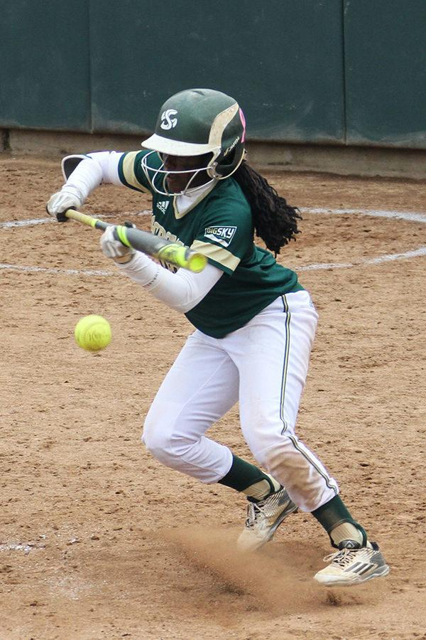 Second baseman Zamari Hinton bunts against Nevada at Shea Stadium, Friday, March 4. The Hornets split the double header with Nevada.