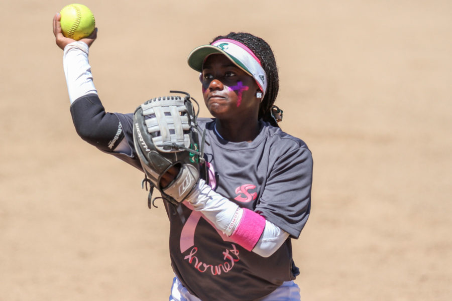 Second baseman Zamari Hinton throws to first base against Southern Utah at Shea Stadium, Saturday, April 16.