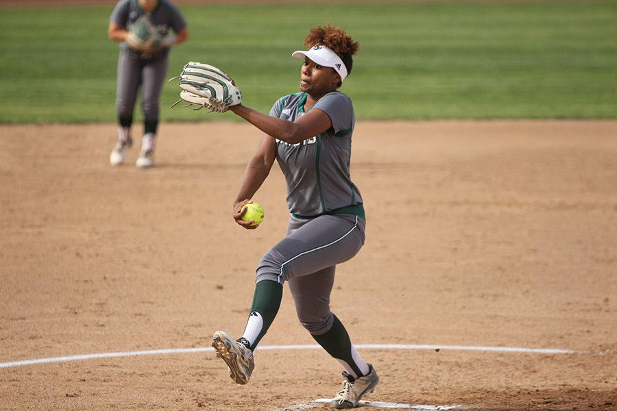 Sacramento State pitcher Celina Matthias pitches the ball against Santa Clara University at Shea Stadium on Tuesday, Apr. 12, 2016. Matthias struck out eight batters through five innings of work.