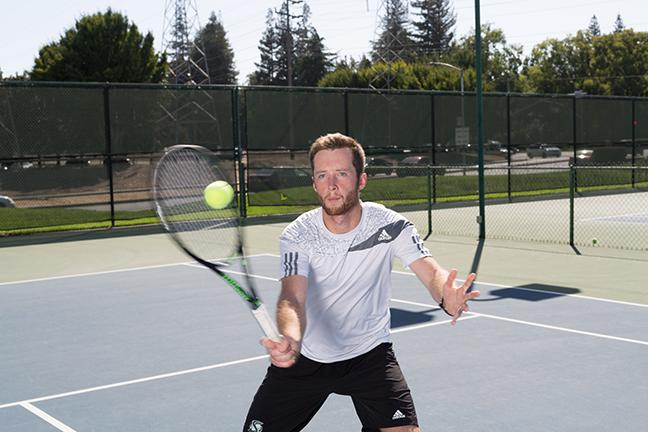 Junior Christopher Clayton earned student-athlete honors from the Intercollegiate Tennis Association for maintaining a 3.50 grade point average. (Photo by Francisco Medina)