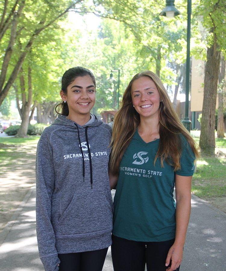 Freshmen+golfers%2C+Nishtha+Madan%2C+left%2C+and+Sofie+Babic%2C+right%2C+helped+Sacramento+State+to+fourth+place+at+the+Cougar+Cup+on+Sept.+20.+%28Photo+by+Francisco+Medina%29
