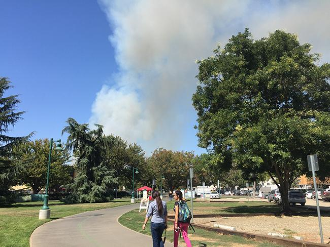 A+large+column+of+smoke+is+visible+from+the+J+Street+entrance+of+Sacramento+State+on+Thursday%2C+Sept.+15.+The+two-alarm+grass+fire+was+reported+at+approximately+1%3A15+p.m.+near+mile+marker+five+of+the+American+River+Parkway.+%28Photo+by+Barbara+Harvey%29