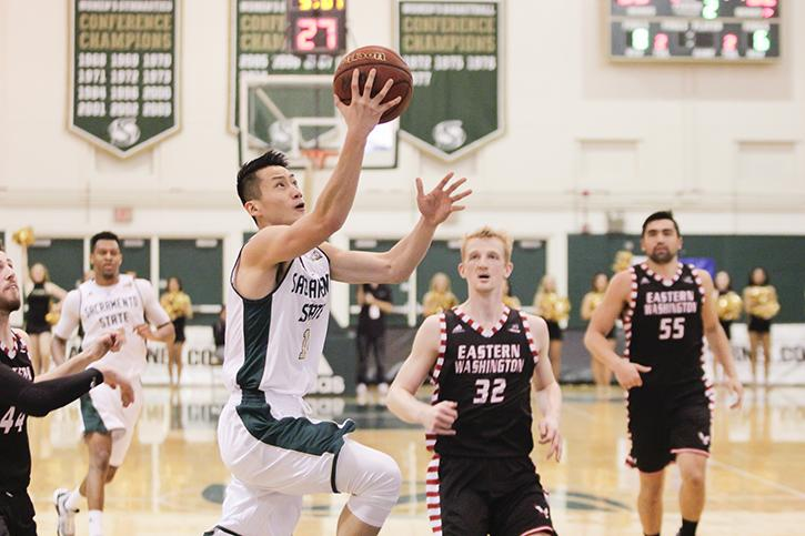 Sacramento State's Jeff Wu attempts a layup against Eastern Washington University on Thursday, Feb. 18, 2015 at the Hornets Nest. (Photo by Matthew Dyer)