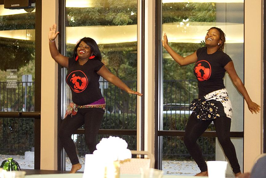 Kanukai Chigamba and Camilla Avugwi of Daughters of Africa at the Multi-Cultural Center's 25th Anniversary reception at Sac State's Alumni Center Sept. 28. (Photo by Marivel Guzman)