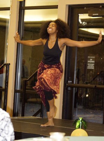 Emiah Zakia Hawkins during her performance at the Multi-Cultural Center 25th Anniversary Reception, at Sac State's Alumni Center, Sept. 28. (Photo by Marivel Guzman)