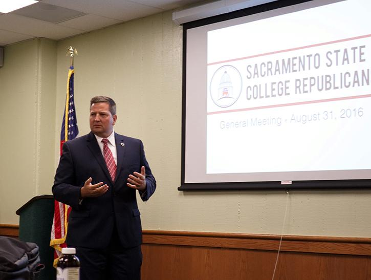 Sacramento+County+Sheriff+Scott+Jones%2C+the+Republican+candidate+for+the+House+of+Representatives+seat+from+California%E2%80%99s+seventh+district%2C+speaks+to+the+Sacramento+State+College+Republicans+on+Thursday%2C+August+31%2C+2016+in+the+University+Union.+The+club+endorsed+Jones+in+the+race%2C+which+College+Republicans+Chair+Ryan+Brown+said+was+a+priority+for+the+club+this+semester.+%28Photo+by+John+Ferrannini%29