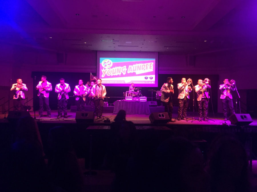 Local Mexican band Banda Rorros La Perrona de Sacramento perform at the University Union Ballroom Thursday, Sept. 15, to celebrate Mexican Independence Day. (Photo by Daisy Gutierrez Jimenez)