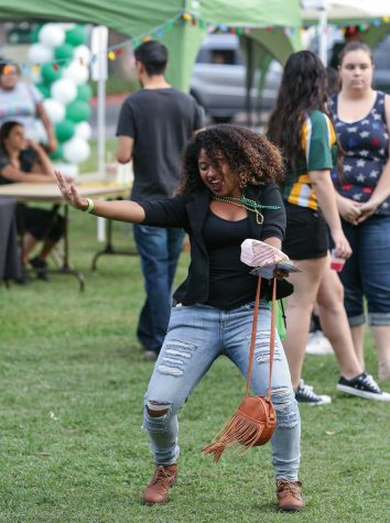 Junior Emaya Goodloe participates in the second annual Sacramento State Dance Marathon on Friday Oct. 23rd, 2015 at the Residence Hall Quad. (Photo by Francisco Medina)