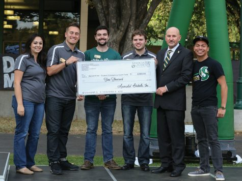 Associated Students of Sacramento State and President Robert Nelsen present a check for the Student Emergancy Grant Fund at the second annual Sacramento State Dance Marathon on Friday Oct. 23rd, 2015 at the Residence Hall Quad. (Photo by Francisco Medina)