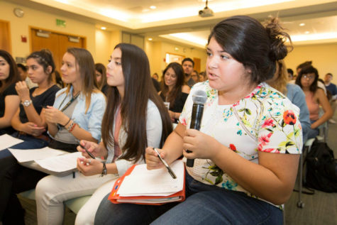 A student speaks at the Serna Center Panel: Inspirational Models of Latino Success Friday, Sept. 9 at The WELL. (Photo courtesy of Serna Center)