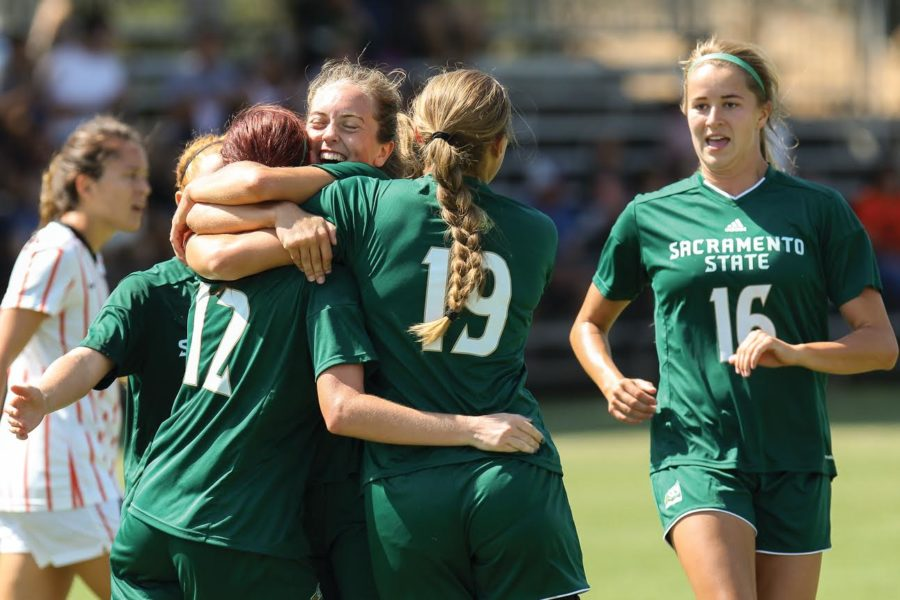 Junior forward Kassidy Kellogg celebrates with her teammates after her goal against Pacific, Sep. 11, 2016 at Hornet Field.  Kellogg scored the only goal for the Hornets in a 1-1 tie. (Photo by Matthew Dyer)