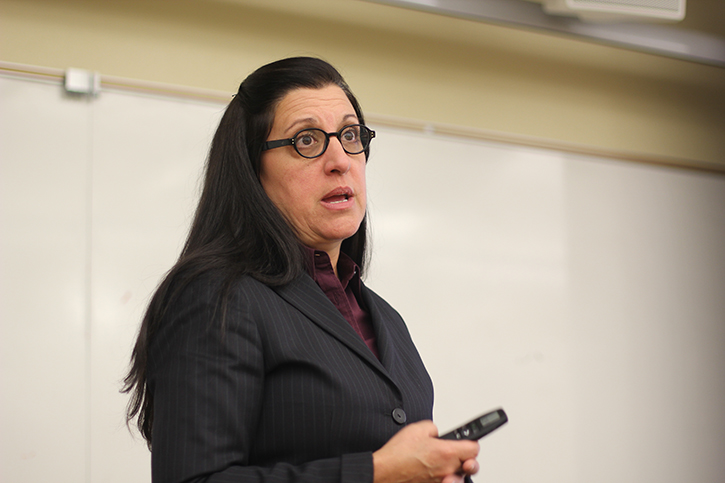 Syroun Sanossian, owner of SZS Consulting Group, which oversees the ADA Transition Plan for Sacramento State, explains the process of identifying on-campus barriers during the ADA Transition Plan forum on Friday. (Photo by Rin Carbin)