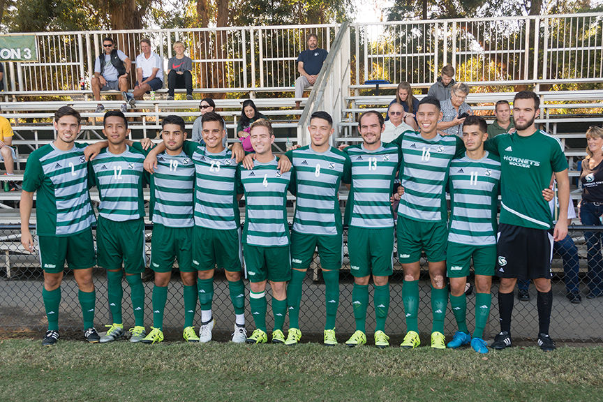 Sacramento State seniors prepare for their last home game against UC Santa Barbara at Hornet Field on Wednesday, Oct. 26. (Photo by Matthew Dyer)