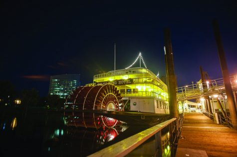 In 1981, this 285-foot-long paddle wheel steamboat mysteriously sank before it was raised and given permanent residence in Old Sacramento as a hotel and restaurant. Legend has it that a ghost of a little girl who died when it sank continues to haunt the boat. (Photo by Diana Rykun)
