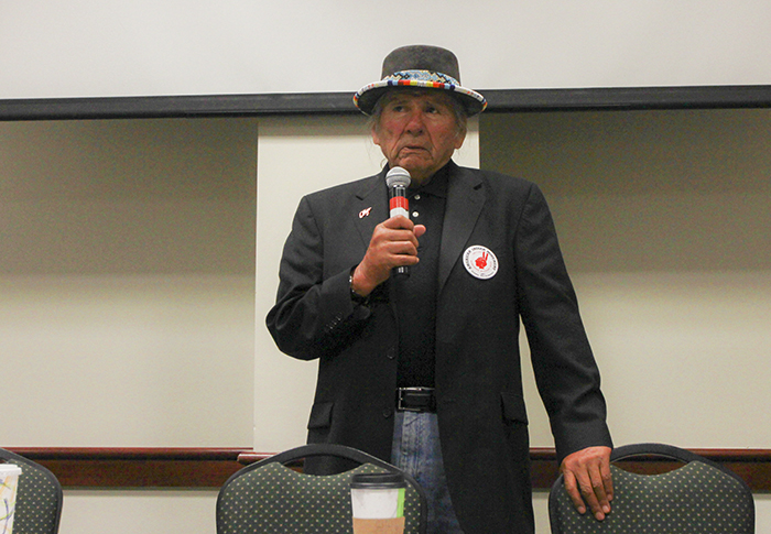 Dennis+Banks%2C+an+American+Indian+activist+and+the+2016+vice+presidential+nominee+of+the+Peace+and+Freedom+Party%2C+speaks+in+the+Orchard+Suite+at+Sacramento+State+on+Tuesday%2C+Oct.+4%2C+2016.+Banks+spoke+about+protests+going+on+at+the+Standing+Rock+Sioux+Reservation+against+a+planned+oil+pipeline+that+American+Indian+leaders+claim+will+negatively+impact+drinking+water+in+the+area+and+destroy+places+sacred+to+them.+%28Photo+by+John+Ferrannini%29