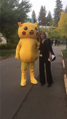 Nathan Broyn as a Pikachu stands next to mom Kira Dunn