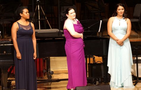 Sopranos Elise Savoy, Nicole James and Paige Kelly perform a song at at the MOSAIC: School of Music Gala Concert at Capistrano Hall, Sunday, Oct. 2. (Photo by Marivel Guzman)