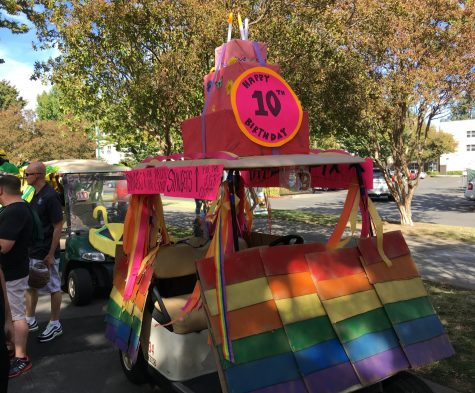 The PRIDE Center's golf cart design before the parade during at the homecoming game, Saturday. Oct. 8. (Photo by Will Moon)