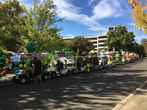 Eighteen golf carts line up before the parade during the homecoming game at Hornet Stadium, Saturday, Oct. 8. (Photo by Will Moon)