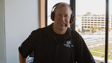 Preparing for the Homecoming Game, Steve McElroy considers his time as a sports broadcaster in the press box, Saturday, October 8th.