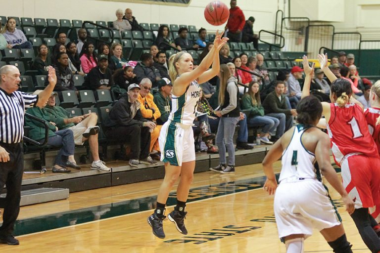 Sacramento State sophomore guard Raegen Rohn shoots a three pointer against Holy Names at the Hornets Nest on Sunday, Oct. 30. (Photo by Matthew Dyer)