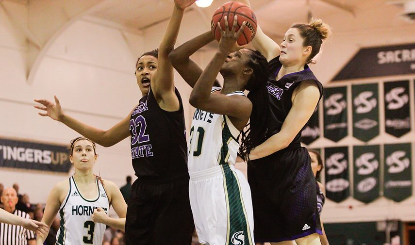 Sacramento State senior forward Kyhonta Doughty attempts a shot in the paint against Weber State at the Hornets Nest on Feb. 11, 2016. (Photo by Matthew Dyer)