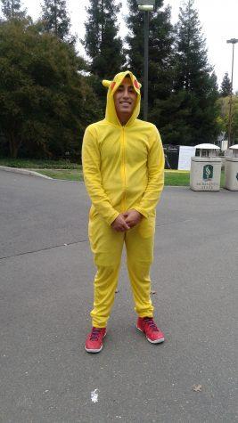 Nathan Benabides in a Pikachu onesie