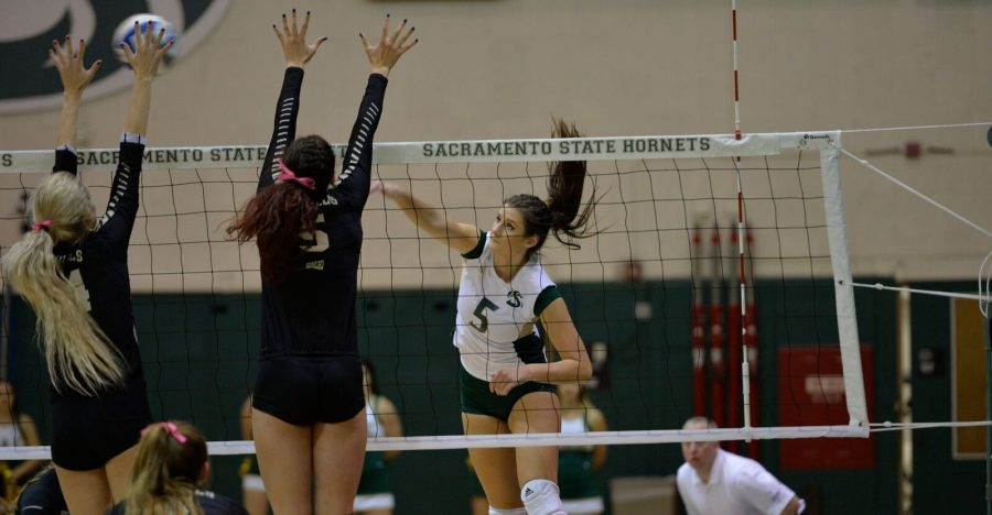 Sacramento State senior outside hitter Madeline Cannon goes for a kill against Idaho on Oct. 20 at the Hornets Nest. (Photo by Bob Solorio/Sac State Athletics)