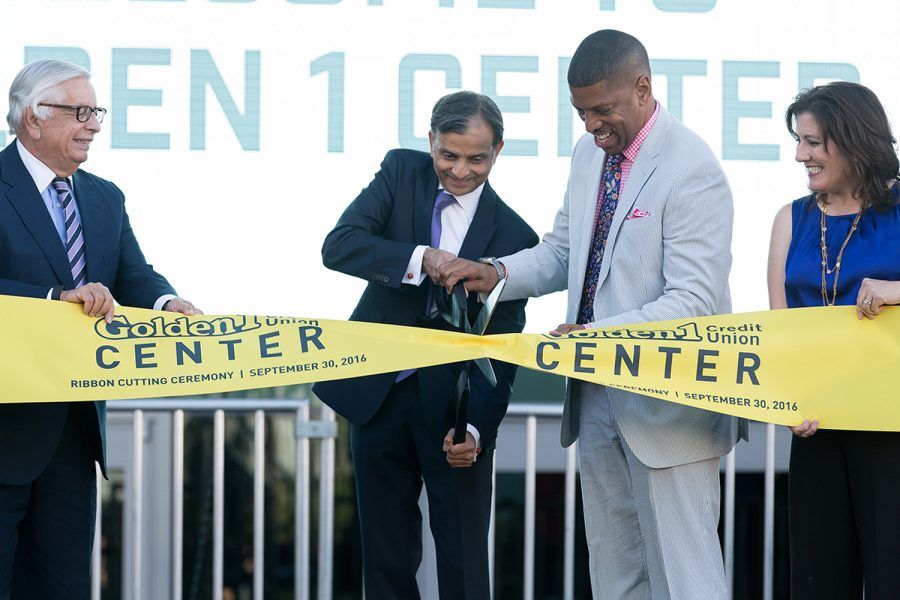 From+left%2C+former+NBA+Commissioner+David+Stern%2C+Sacramento+Kings+owner+Vivek+Ranadive+and+Sacramento+Mayor+Kevin+Johnson+cut+the+ribbon+at+the+Golden+1+Center+on+Friday.+%28Photo+by+Francisco+Medina%29