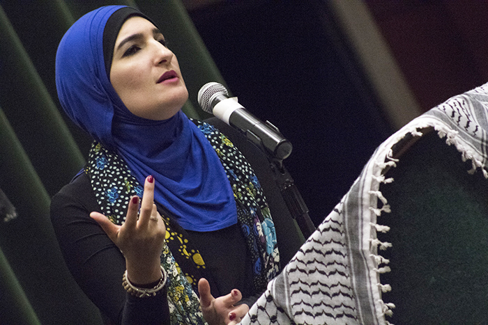 Palestinian-American+activist+Linda+Sarsour+speaks+in+front+of+an+audience+at+a+Students+for+Justice+in+Palestine+event+at+Sacramento+State.+Sarsour+said+that+minority+groups+have+to+mobilize+to+build+a+better+community.+%28Photo+by+Joseph+Daniels%29