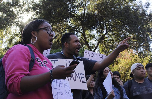 Students argue during a protest in the Library Quad following the election of Donald J. Trump on Nov. 9, 2016.