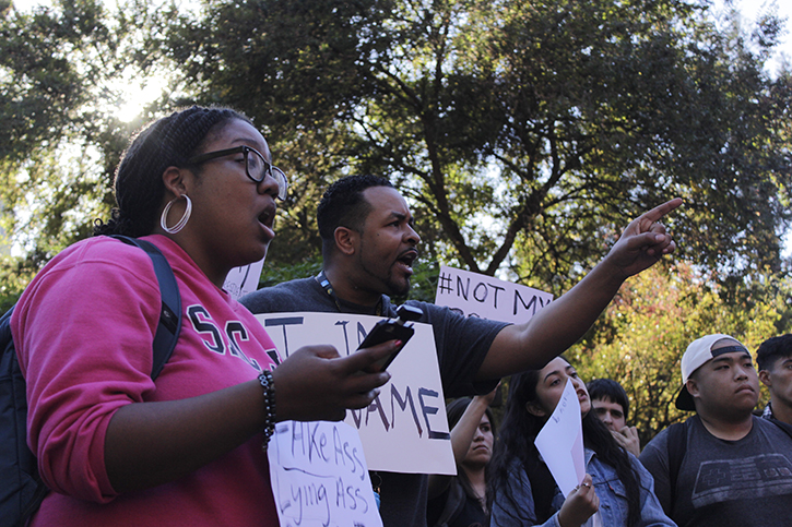 Students argue during a protest in the Library Quad following the election of Donald J. Trump on Nov. 9, 2016. (Photo by Barbara Harvey)
